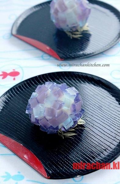 Ajisai Wagashi – Bánh Wagashi với tượng hình hoa cẩm tú cầu
