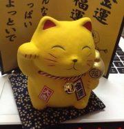 Tượng mèo vàng đeo chuông cầu tiền tài.9cm