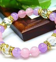 Vòng đá phong thủy thạch anh hồng, trắng, tím lavender