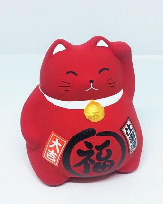 Mèo Maneki Neko bụng phệ màu đỏ cầu may mắn