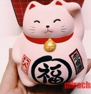 Mèo Maneki Neko bụng phệ ( hồng) cao 12cm