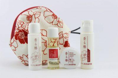 Set mini dưỡng trắng da Kazurasei từ chiết xuất hoa trà Tsubaki và thảo mộc hữu cơ