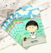 Postcard hình Maruko chan và mùa hè Nhật Bản