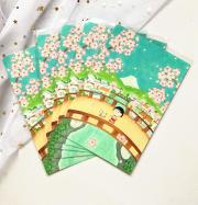 Postcard bé Maruko chan và mùa xuân Nhật Bản, kích thước 148x100 mm