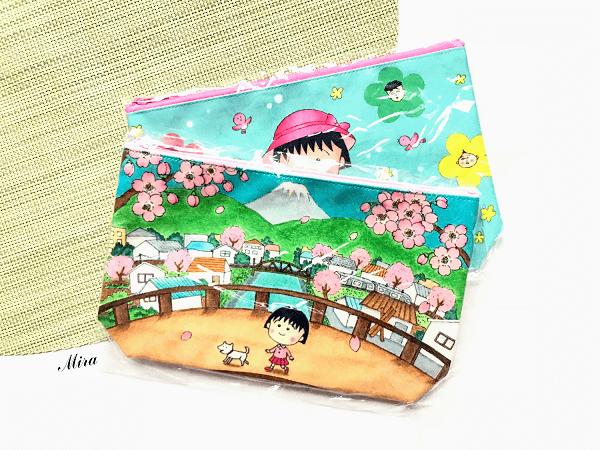 Ví đựng viết hay mỹ phẩm (hình Maruko chan và hoa sakura). Kích thước 12.5 x 20.5 x 5 cm