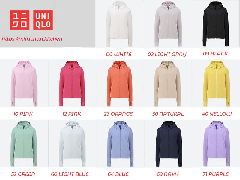 bảng màu áo chống nắng uniqlo 2019