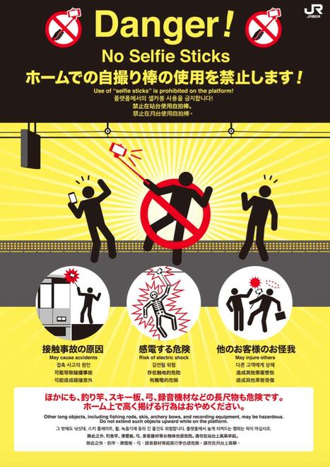 Không dùng gậy selfie chụp ảnh ở Nhật