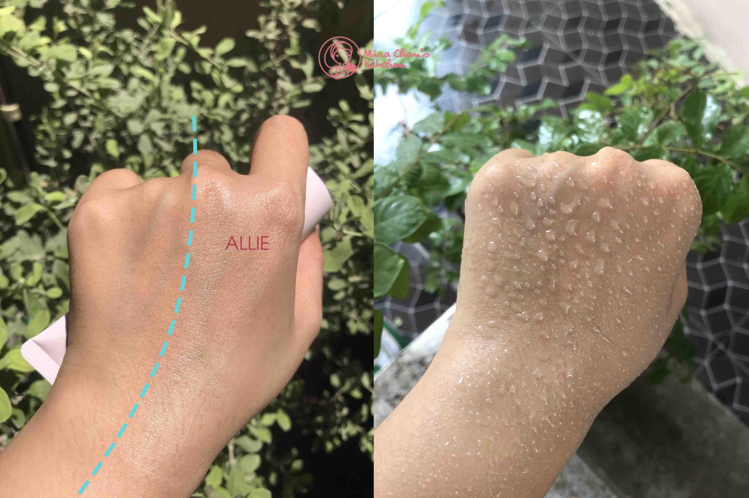review kem chống nắng ALLIE - chống nước - glow